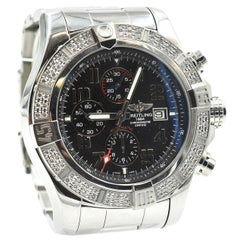 Breitling Stainless Steel Diamond Super Avenger Factory automatic Wristwatch