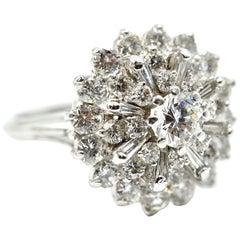 Ladies Platinum 2.29 Carat Diamond Cluster Cocktail Ring