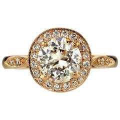1.26 Carat Old European Cut Diamond Engagement Ring