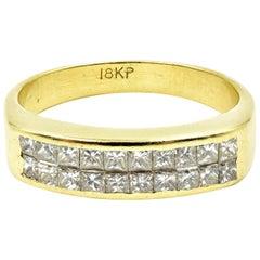 Invisible Set Princess Cut Diamond Band 18 Karat Yellow Gold