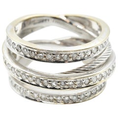1.40 Carats Diamond Crossover Band 18 Karat White Gold