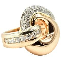 14 Karat Yellow Gold, 0.73 Carat Round Diamond Fashion Ring