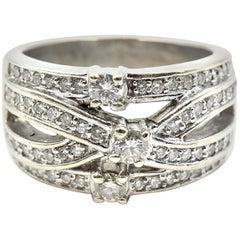 0.82 Carats Diamond Crossover Ring 14 Karat White Gold