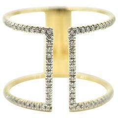 14 Karat Yellow Gold, 0.40 Carat Round Diamond, Freeform Geometric Band