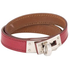 Hermès Kelly Double Tour Bracelet Palladium Plate Red Leather Estate Jewelry