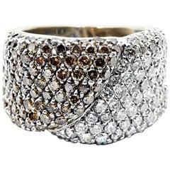 3.60 Carats White and Chocolate Diamond Ring 14 Karat White Gold