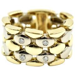 18 Karat Two-Tone Reticulating Link Free Flow 0.12 Carat Diamond Fashion Band