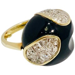 Mid-Century Modern Carved Black Onyx Diamond Pave and White Gold Dome Ring