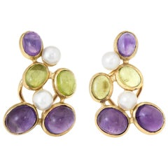 Peridot Amethyst Pearl Clip Earrings Vintage 18 Karat Yellow Gold