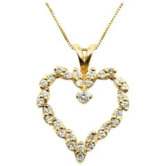 1.25 Carat Round Diamond 14 Karat Yellow Gold Heart Pendant Necklace