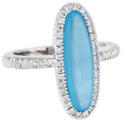 Frosted Blue Topaz Diamond Oval Cocktail Ring Estate 14 Karat White Gold Jewelry