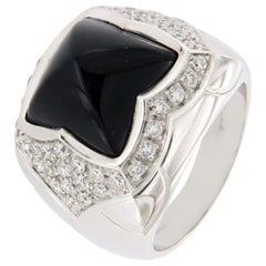 Bulgari 18 Karat White Gold Diamond Black Onyx Pyramid Ring