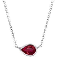 White Gold Pear Shape Ruby Bezel Set Pendant Necklace
