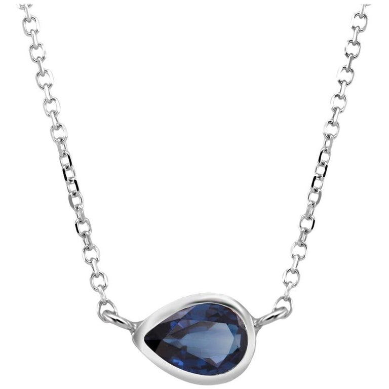 White Gold Pear Shape Sapphire Bezel Set Pendant Necklace