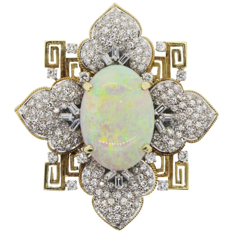 Vintage Opal and Gold Pendant Brooch