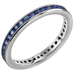 White Gold Eternity Sapphire Milgrain Wedding Band