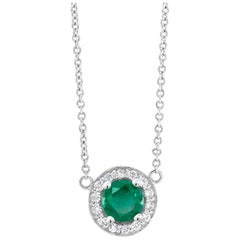 White Gold Halo Emerald and Diamond Pendant Necklace