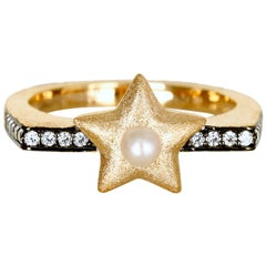 Pearl Studded Star Ring Vermeil Gold