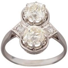 French Toi et Moi Diamonds Antique Ring