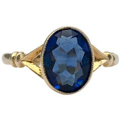 Gold Vintage Jewelry Blue Glass Synthetic Gemstone Paste Ring 1920s Dainty