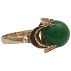 Gold Vintage Jewelry 14K Ring Jade Gemstone Spherical Midcentury Ball Modernist