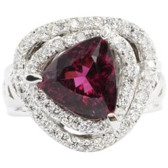 18 Karat White Gold 3 Carat Rubellite Tourmaline Diamond Accent Ring