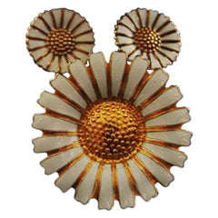 Margurite or Marguerite Brooch and Earrings in Sterling Silver or Enamel