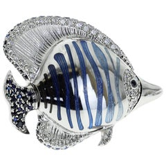 18 Karat White Gold Diamond Sapphire Enamel Fish Brooch