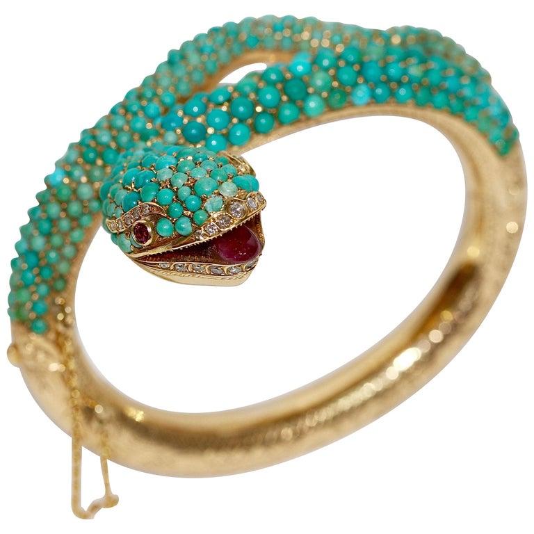 18 Karat Gold Snake Bracelet Bangle Set with Turquoise, Diamonds and Rubies
