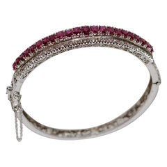 14 Karat White Gold Bracelet Bangle Set with Lots of Rubies and Tiny Diamonds