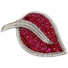 Large 18 Karat White Gold Brooch Pendant Set with Countless Rubies and Diamonds
