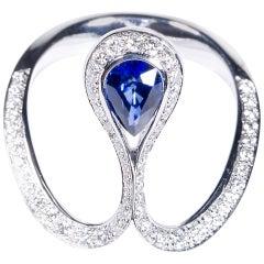 0.80 Carat Pear Blue Sapphire Royale Ring