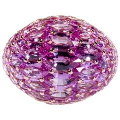Pink Sapphire 18 Karat Rose Dome Ring