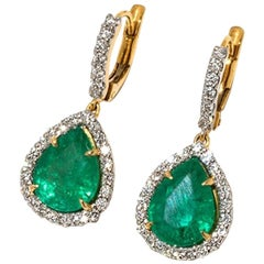 Pair of Earrings with Emerald Drops and Diamonds in 18 Karat Yellow Gold