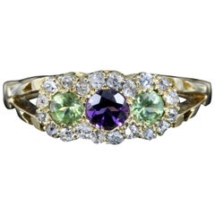 Antique Suffragette Victorian Ring 18 Carat Gold Diamond Amethyst Peridot