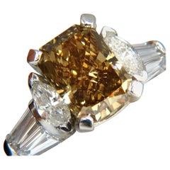 GIA 4.12 Carat Radiant Fancy Brown Green Yellow Diamonds Platinum Ring