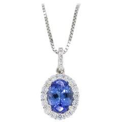 Tanzanite and Diamond Halo Pendant Necklace