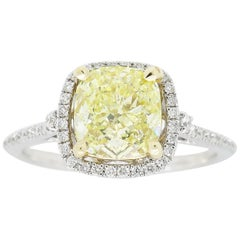 GIA Certified 1.64 Carat Fancy Yellow Diamond Halo Engagement Ring