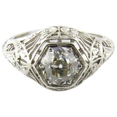 IGI Certified Platinum European Cut Diamond Filigree Engagement Ring