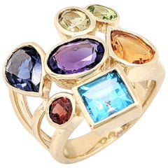 14 Karat Yellow Gold Bezel Set Multi-Gemstone Right Hand Ring