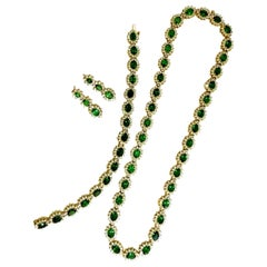 70.72 Carat Natural Tsavorites Diamond Bracelet Earrings Necklace Suite