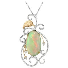 Opal Diamond White and Rose Gold Pendant