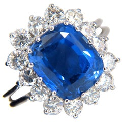 "GIA Certified 8.84 Carat Natural No Heat Sapphire Diamond Ring Prime ""B"" Origin"