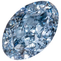 Fancy Intense Blue Diamond VVS1 Oval GIA Certified 0.74 Carat