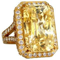 GIA Certified 44.24 Carat Natural No Heat Yellow Sapphire Diamonds Ring 18 Karat