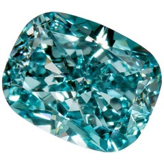 Fancy Vivid Green Blue Diamond VS2 Cushion GIA Certified 0.60 Carat