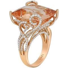 Morganite Diamond and Rose Gold Ring