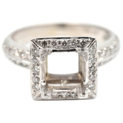 0.48 Carat Round Brilliant Cut Diamond 14 Karat White Gold Semi-Mount