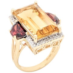 14 Karat Yellow Gold Citrine, Garnet and Diamond Right Hand Ring