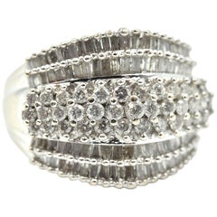 Round and Baguette Diamond Band 10 Karat White Gold